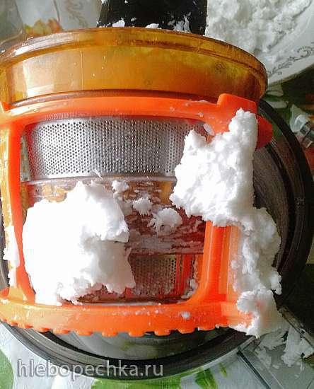 Кокосовое молоко, масло кокоса и кокосовая стружка в шнековой соковыжималке CASO SJW400