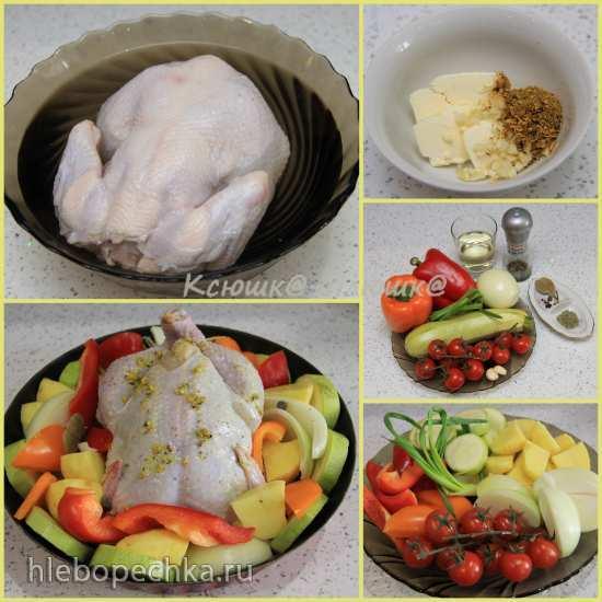 Ароматный цыпленок, запеченный с овощами в аэрогриле Brand 35128