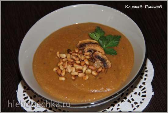 Суп-пюре из печеных баклажанов и грибов