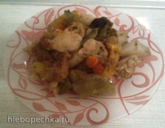 Картофель с овощами в духовке (постный)