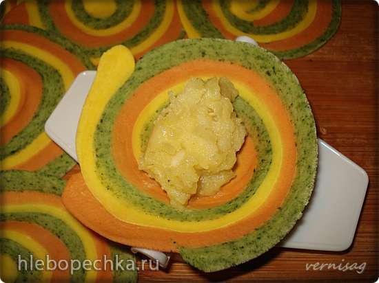Радужные вареники с картошкой и жареным луком (постные)