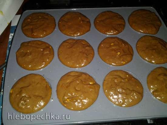 Шоколадное печенье-кекс с орехами на кефире