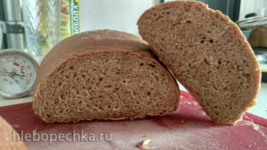 Хлеб заварной с солодом на закваске. ( в духовке)