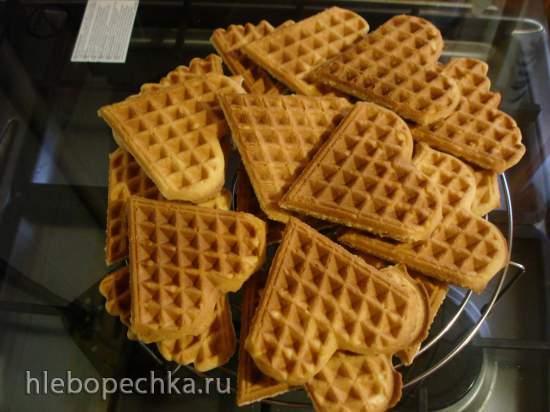 Рассыпчатое печенье в вафельнице Сердечки