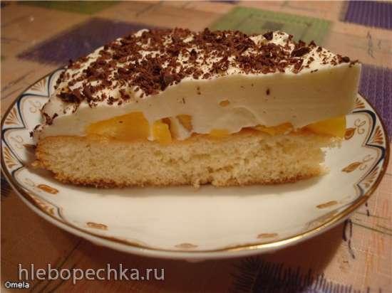 Торт «Персики в снегу»