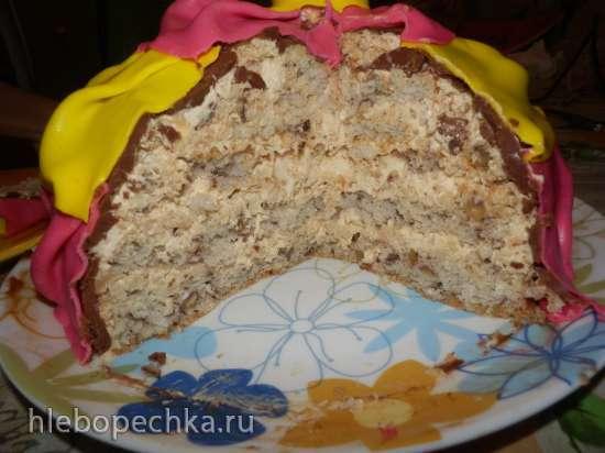Нежный высокий ореховый бисквит