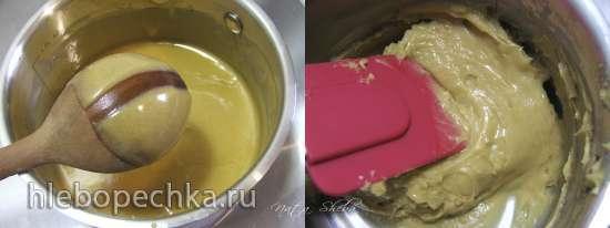 Двойной брауни с трюфелем под карамелизированным муссом из белого шоколада