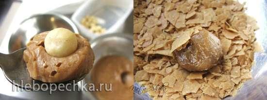 Трюфели с белым карамелизированным шоколадом и макадамией