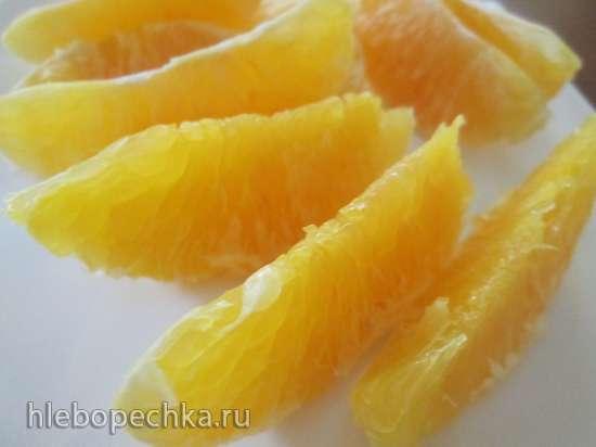 Апельсиновые дольки в овсяных хлопьях с творожным сыром