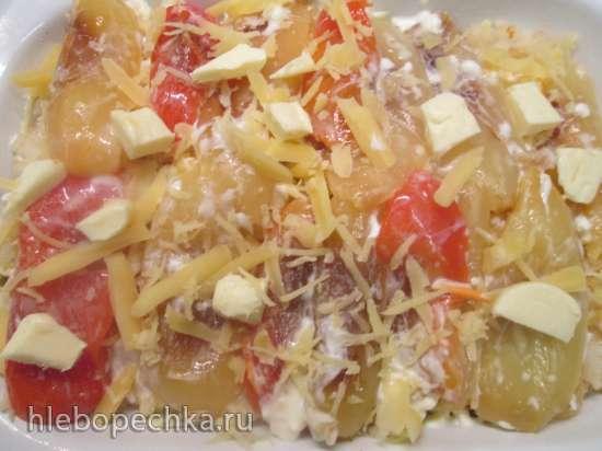 Запеканка из сладкого перца, картофеля и феты