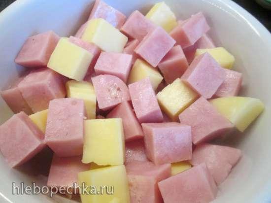 Пирог-запеканка из сыра с ветчиной