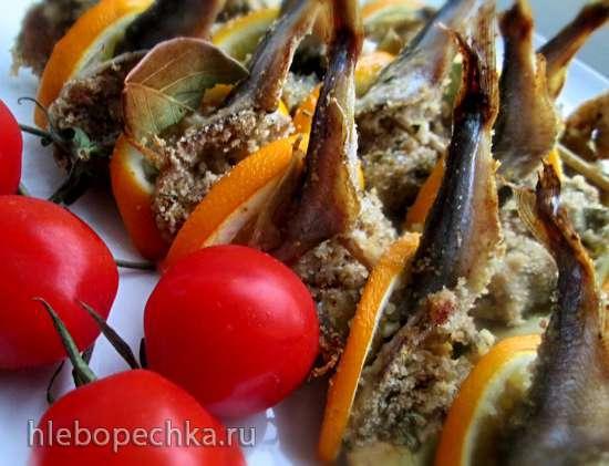 Килька с начинкой, запеченная на шпажках по-сицилийски (Sarde al beccafico)