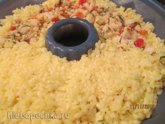 Рыба в рисовом кольце с мятным соусом