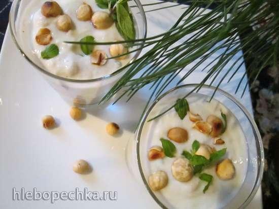 Десерт бананово-мятный с йогуртом