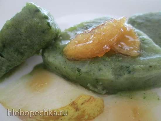 Смузи - суп - сорбе из шпината, апельсина и груши