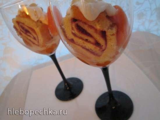 Десерт из нежного рулета с абрикосами «Праздничный»