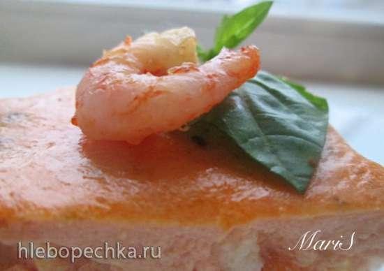 Запеканка из белой рыбы и креветок в томатном соусе