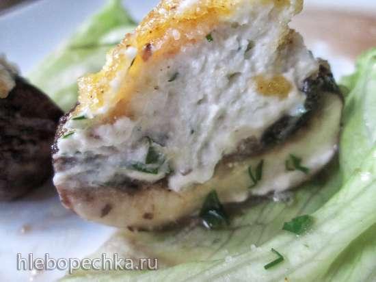 Грибы в хрустящей панировке, фаршированные сыром
