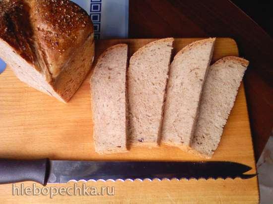 Пшенично-гречнево-ржаной хлеб на жидких дрожжах (духовка)