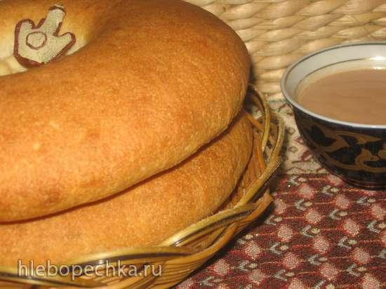 Лепёшки азиатские на закваске на мясном бульоне, луке и катыке