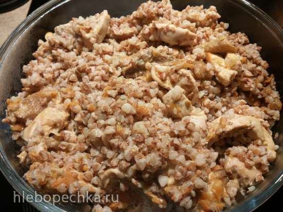 Томленая гречка с куриной грудкой и грибами в мультиварке-скороварке Steba DD1