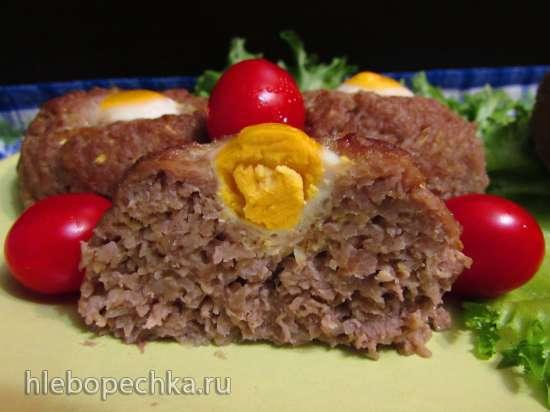 Мясо-овощные котлеты с перепелиными яйцами