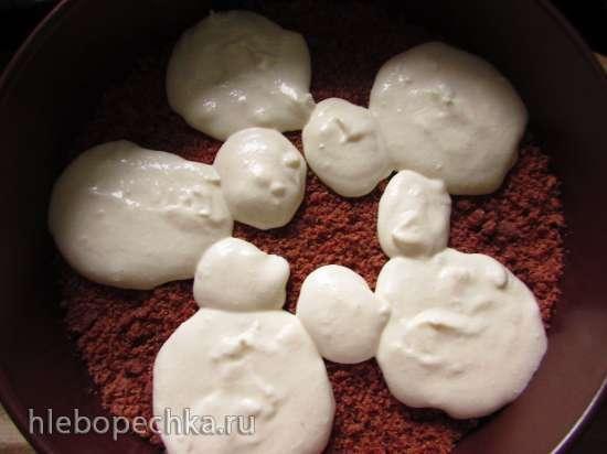 Песочно-шоколадный пирог с творожно-малиновой начинкой