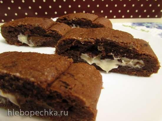 Кофейное печенье с двухцветной шоколадно-ореховой пастой