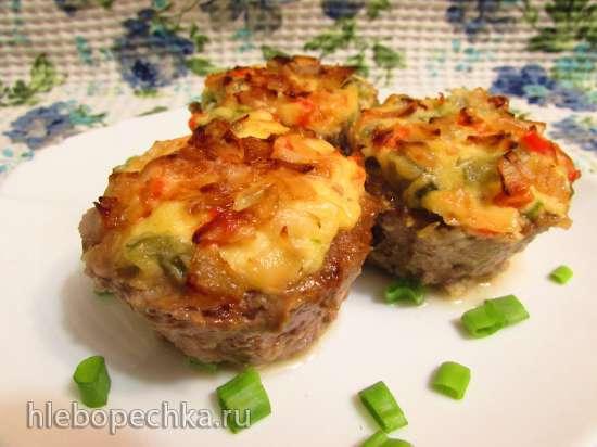 Мясные корзиночки с сырно-овощной начинкой
