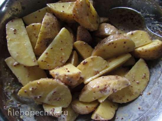 Картофель, запечённый в кефирно-горчичном маринаде
