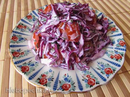Салат из краснокочанной капусты с помидорами