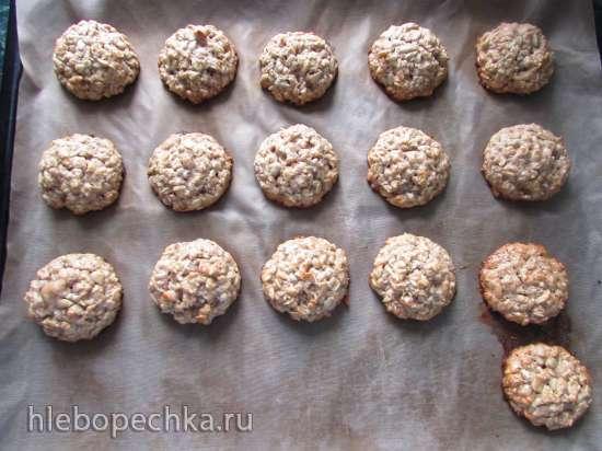 Быстрое овсяно-ржаное печенье «Диетическое» (без сливочного масла  и яиц) с семечками