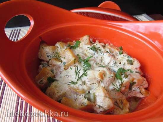 Тыква, запечённая в сметанно-чесночном соусе