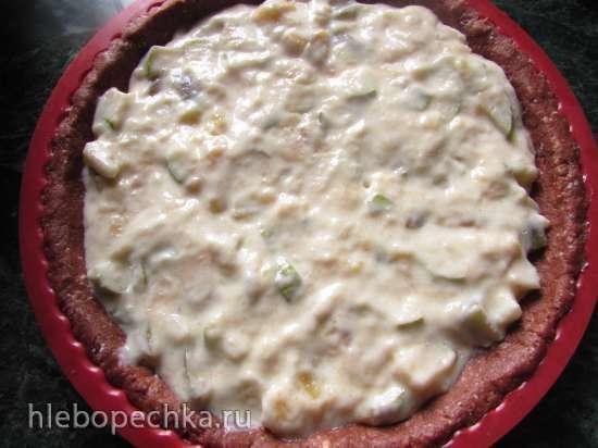 Творожно-шоколадный пирог с бананом и грушей