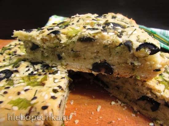 Пирог с зеленью и маслинами «Изумительный»(без яиц и сливочного масла)