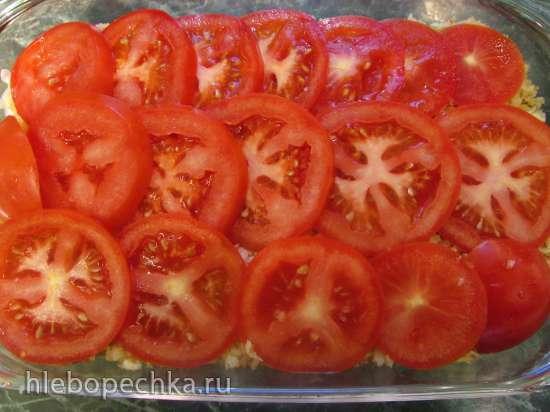 Кабачково-помидорная запеканка под сырно-хлебными крошками