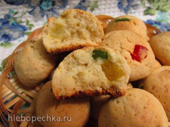 Творожно-медовое мягкое печенье с цукатами(без яиц)