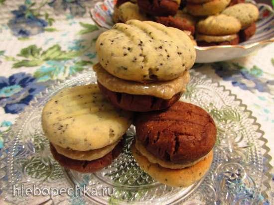 Двойное маково-шоколадное печенье с масляно-халвичным кремом