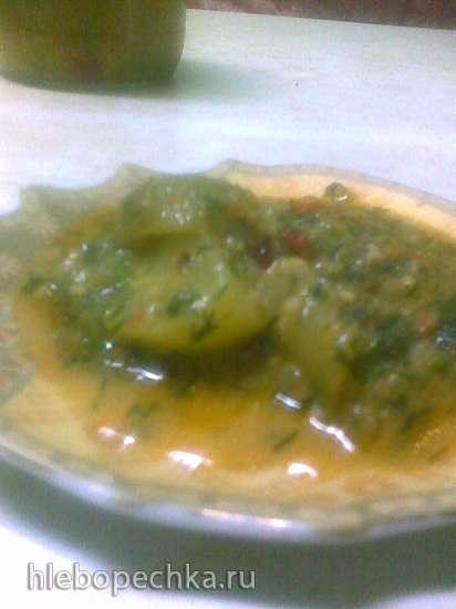 Острая закуска из зелёных помидоров