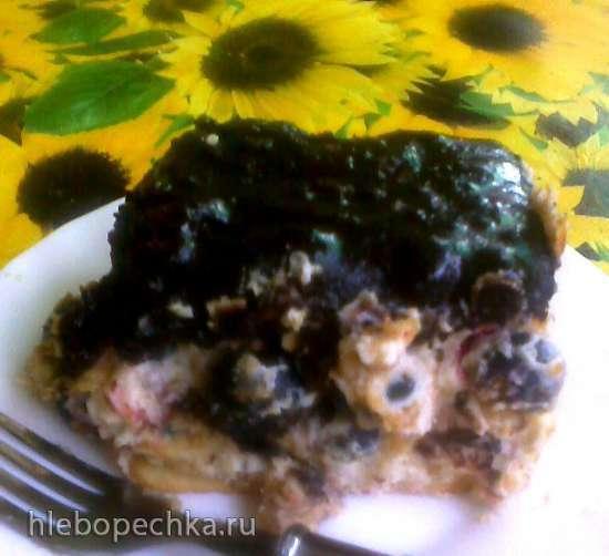 Творожный торт без выпечки с орехами и йоштой