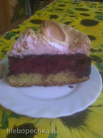 Творожно-ягодный пирог с суфле