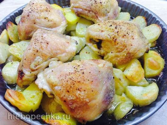 """Куриные бёдра с картофелем """"Проще не бывает, а всегда вкусно"""" (печь Steba KB28ECO line)"""