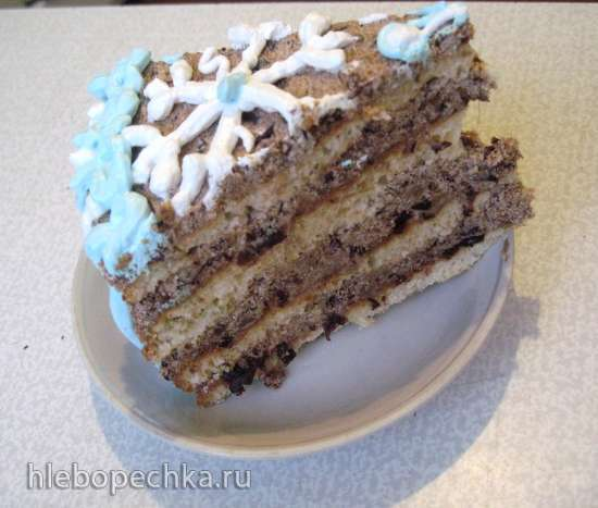 Торт сметанный с черносливом и орехами