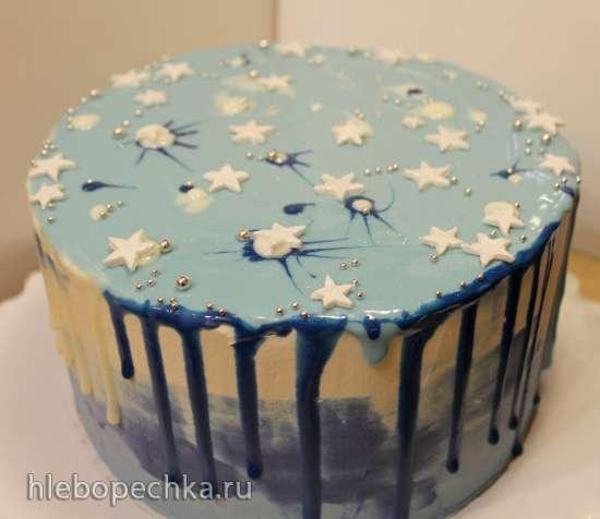 """Торт кофейно-шоколадная груша с сыром Дор-блю """"Новогоднее небо"""""""
