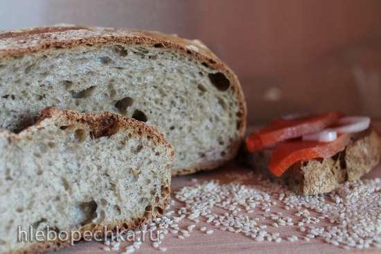 Пшеничный хлеб на биге (на жидких дрожжах) и на кунжутном молоке с мятной клетчаткой