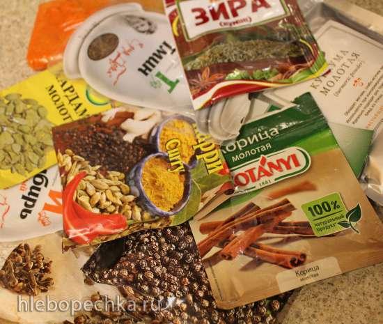 Палтус-карри в соусе «Гарам масала» с кокосом и манго в горшочках