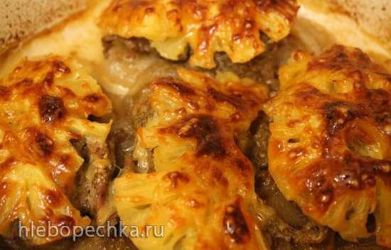 Филе индейки, запеченное под ананасами в соусе из киви