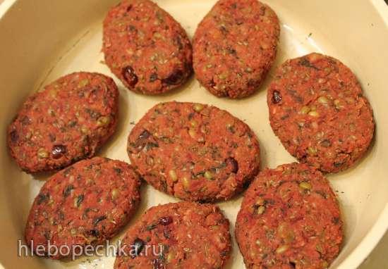 Котлеты из маша с овощами и грецкими орехами запеченные (постные)