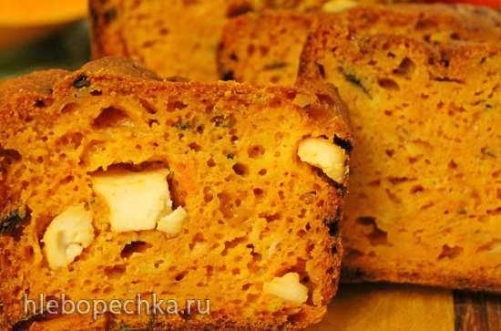 Тыквенный сырный кекс с томатами и базиликом