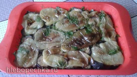 Закуска из маринованных баклажанов и перцев на гриле